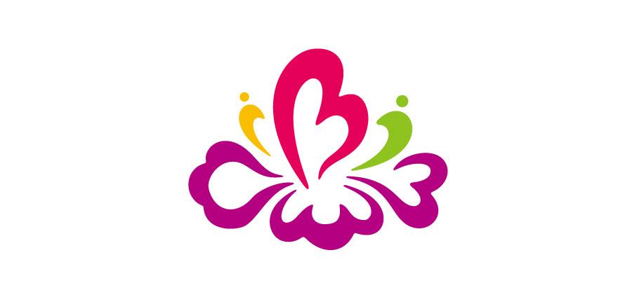 标志以紫薇花为主体,直接明了的体现幼儿园主题;结合幼儿,爱心,潮水